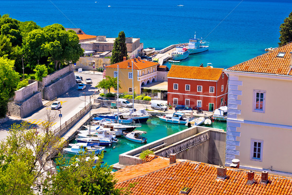 Famous Fosa harbor in Zadar aerial view Stock photo © xbrchx