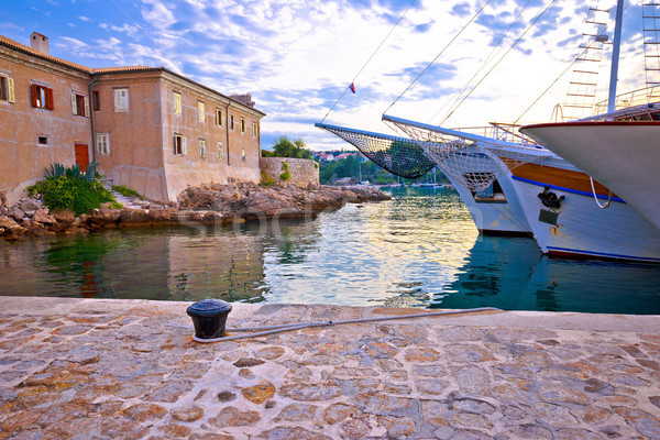 Historic island town of Krk walls and waterfront mornng view Stock photo © xbrchx