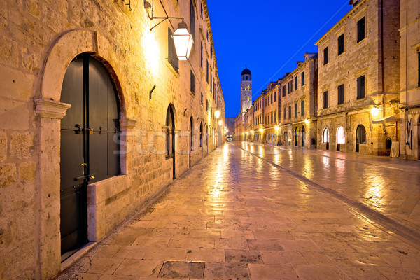 Famous Stradun street in Dubrovnik night view Stock photo © xbrchx