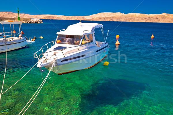 Barco turquesa mar canal desierto Foto stock © xbrchx