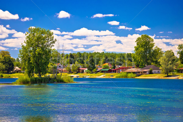 Soderica lake tourist village waterfront view Stock photo © xbrchx