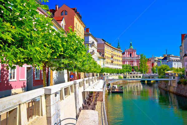 City of Ljubljana historic riverfont view Stock photo © xbrchx