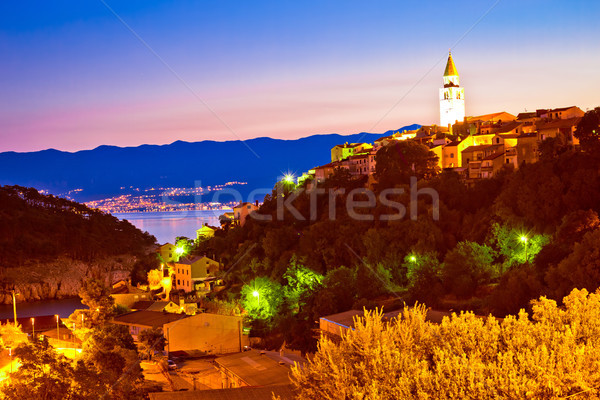 Town of Vrbnik on Krk island evening view Stock photo © xbrchx