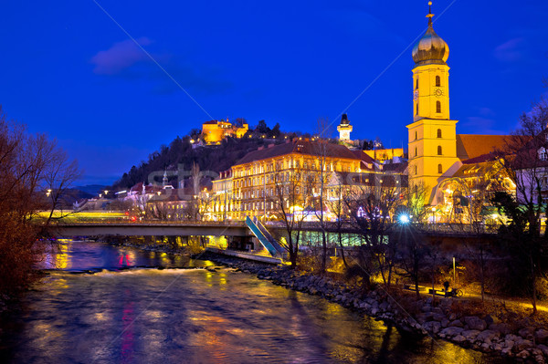 Mur river and Graz cityscape evening view Stock photo © xbrchx