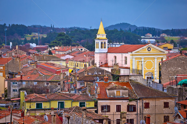 Stock photo: Town of Porec rooftops and coastline view