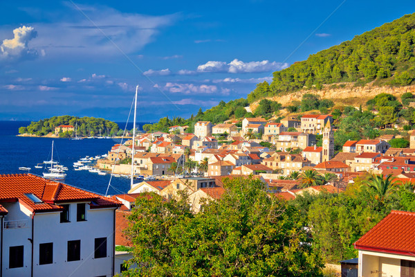 Idyllic coastal town of Vis waterfront view Stock photo © xbrchx