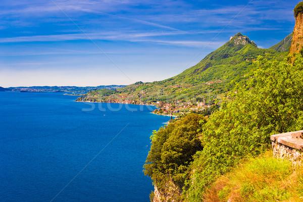 Garda lake west coast cliffside view near Limone Stock photo © xbrchx