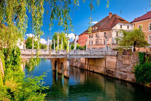Green Ljubljanica riverfront and bridge in Ljubljana Stock photo © xbrchx