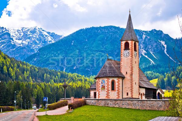 Church in the Alps near Lago di Braies Stock photo © xbrchx