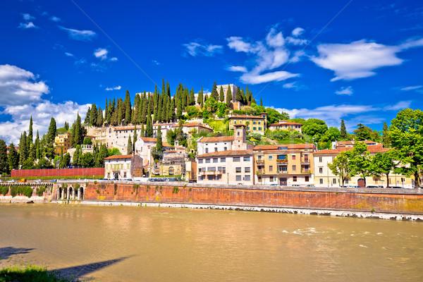 Verona cityscape from Adige river bridge view Stock photo © xbrchx
