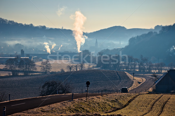 Town of Gnas landscape in fog view Stock photo © xbrchx