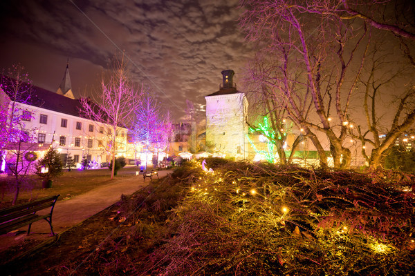 Zagreb upper town christmas market evening view Stock photo © xbrchx