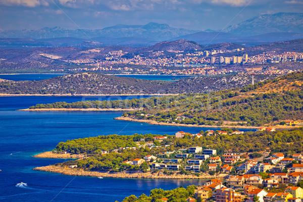 Stock photo: Adriatic tourist destination of Primosten aerial panoramic archi