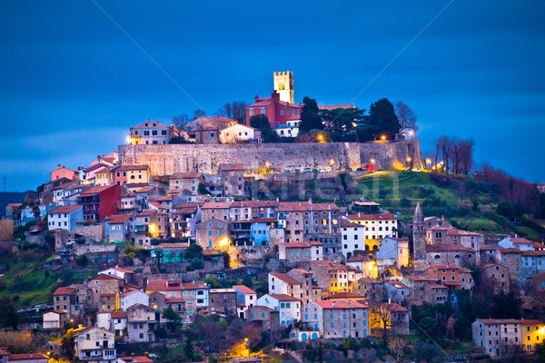 Town of Motovun on Istrian hill dawn view Stock photo © xbrchx