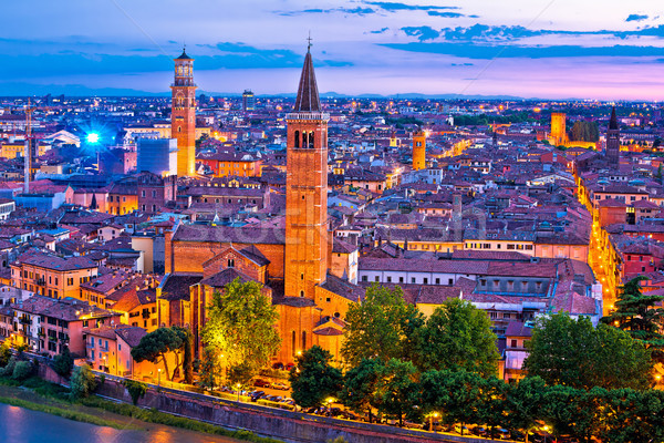 Stock photo: Verona towers and rooftops evening view