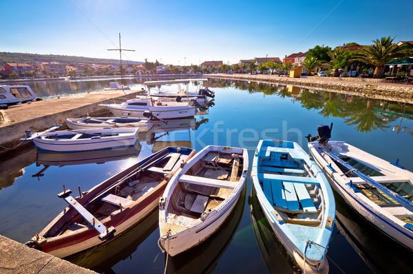 Village bord de l'eau port vue Croatie ciel Photo stock © xbrchx