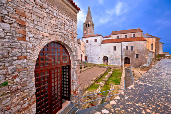 Euphrasian Basilica in Porec astefacts and tower view Stock photo © xbrchx