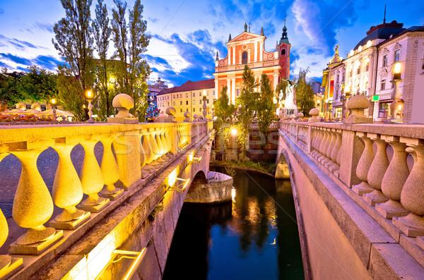 Tromostovje bridge and square evening view Stock photo © xbrchx