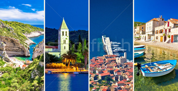 Island of Vis landmarks and nature collage Stock photo © xbrchx