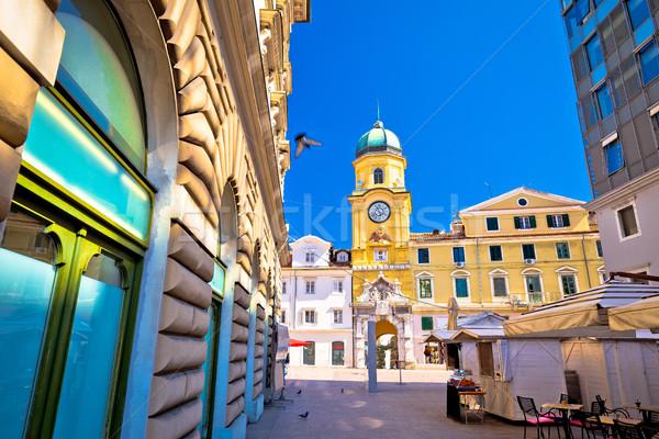 Ciudad principal cuadrados reloj torre vista Foto stock © xbrchx