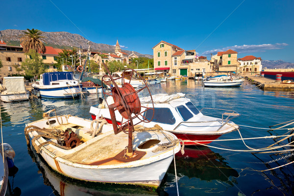 Kastel Kambelovac harbor and waterfront view Stock photo © xbrchx
