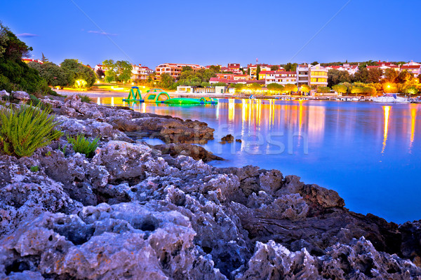 Pjescana Uvala tourist village near Pula evening beach view Stock photo © xbrchx