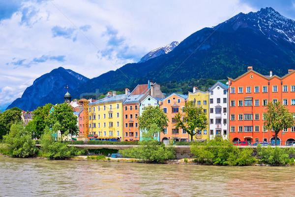 Stad kleurrijk herberg rivier panorama Stockfoto © xbrchx