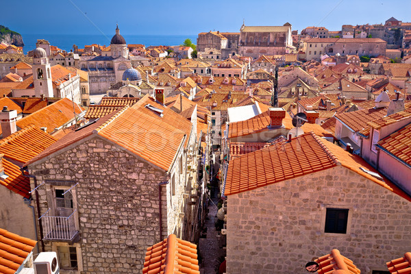 Dubrovnik rooftops and historic landmarks view Stock photo © xbrchx