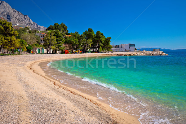Zümrüt plaj dağ görmek su Stok fotoğraf © xbrchx