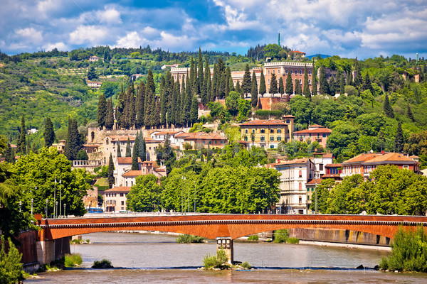 Adige river and Castel San Pietro in Verona view Stock photo © xbrchx