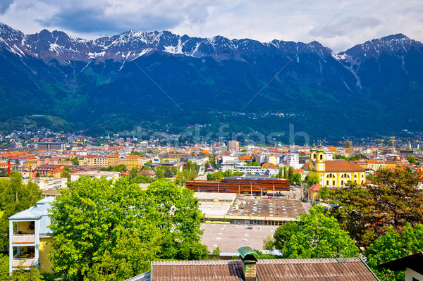 Panoramic aerial view of Innsbruck and Hafelekarspitze mountain Stock photo © xbrchx