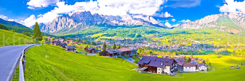 Beautiful town of Cortina d' Ampezzo in Dolomites Alps panoramic Stock photo © xbrchx