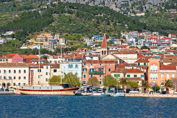 Makarska boats and waterfront under Biokovo mountain view Stock photo © xbrchx