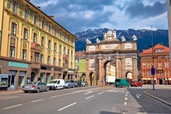 Triumphal arch and Maria Theresa street view in Innsbruck Stock photo © xbrchx