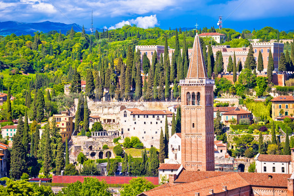 Stock photo: Verona rooftops and Castel San Pietro view