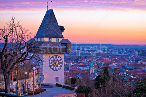 Graz landmark and cityscape dusk view from Schlossberg Stock photo © xbrchx
