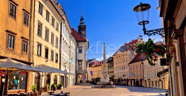City of Ljubljana old cobbled center street Stock photo © xbrchx