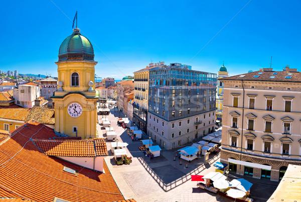 City of Rijeka clock tower and central square panorama Stock photo © xbrchx