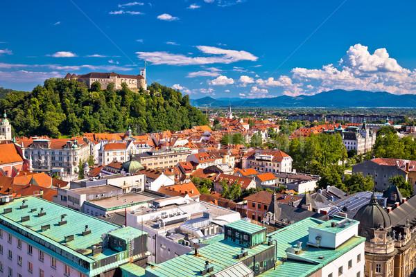 Stad luchtfoto hemel gebouw straat Blauw Stockfoto © xbrchx