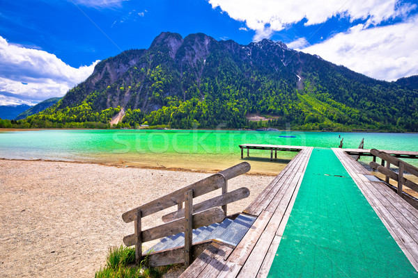 Achen lake turquoise water and Alps mountains view Stock photo © xbrchx