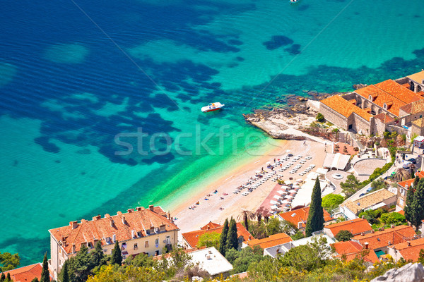 Banje beach in Dubrovnik aerial view Stock photo © xbrchx