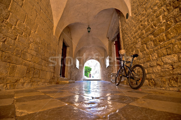 Town of Krk historic stone steet passage view Stock photo © xbrchx