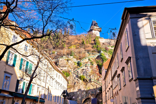 City of Graz street and stairway to Uhrturm view Stock photo © xbrchx