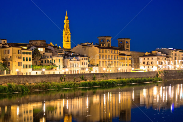 Arno river waterfront in Florence evening view Stock photo © xbrchx