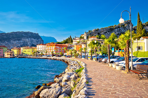 Colorful town of Torbole on Lago di Garda waterfront view Stock photo © xbrchx