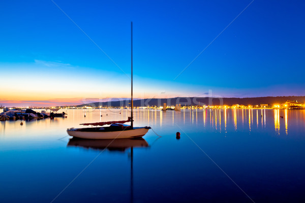 Sukosan waterfront and calm sea evening view Stock photo © xbrchx