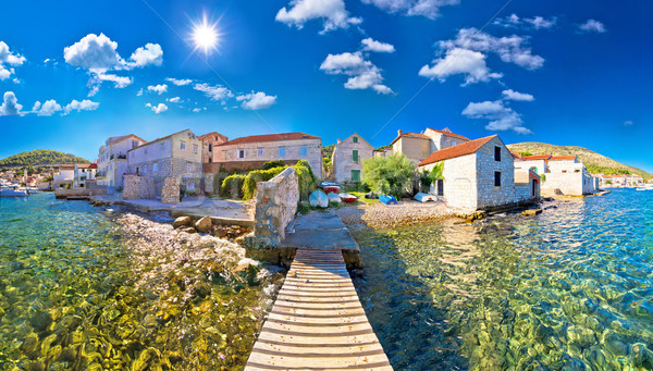 Island town of Vis idyllic waterfront view Stock photo © xbrchx