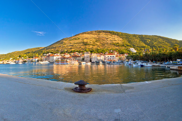 Town of Vis panoramic harbor view Stock photo © xbrchx