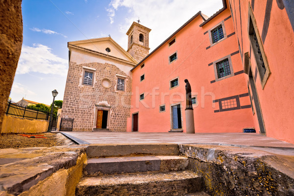 Town of Krk historic square church view Stock photo © xbrchx
