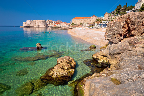 Historic town of Dubrovnik and Banje beach view Stock photo © xbrchx